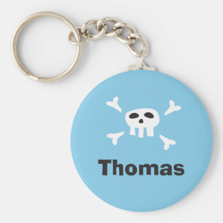 Personalized pirate party favor keychain, skull basic round button key ring