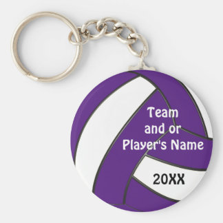 Personalized Purple and White Volleyball Keychains