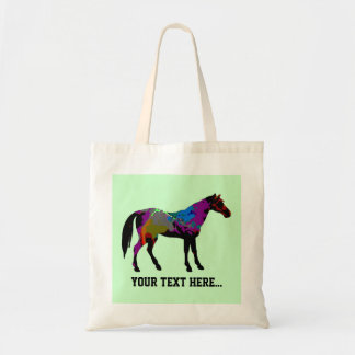 Personalized Race Horse Design On Mint Green Budget Tote Bag