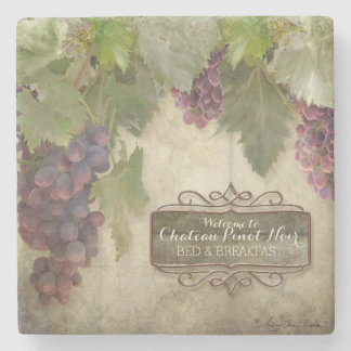 Personalized Rustic Vineyard Winery Fall Wine Sign Stone Beverage Coaster