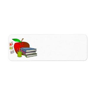 Personalized Teacher's Books & Apple Return Address Label