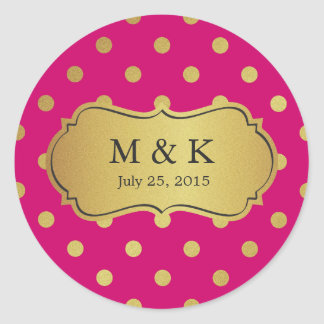 Personalized Trendy Pink Gold Polka Dots Round Sticker