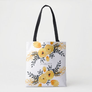 Personalized Yellow Flower Watercolor Tote Bag