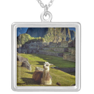 Peru, Andes, Andes Mountains, Machu Picchu, 2 Square Pendant Necklace