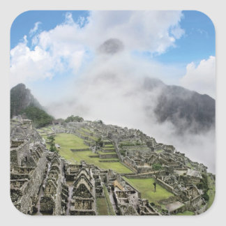 Peru, Machu Picchu, the ancient lost city of 4 Square Sticker