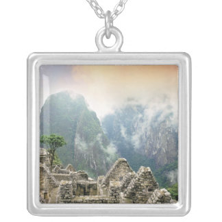 Peru, Machu Picchu, the ancient lost city of Square Pendant Necklace