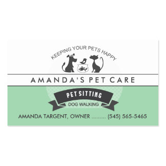 Pet Sitting & Care Green & White Retro Design Pack Of Standard Business Cards