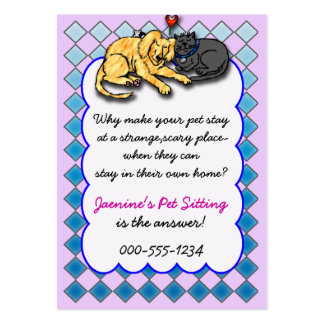 pet sitting service pack of chubby business cards