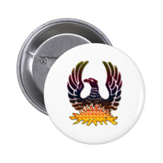 Phoenix Rising From Fire & Ashes 6 Cm Round Badge