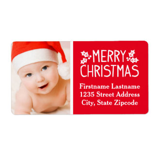 Photo Return Address Label | Merry Christmas