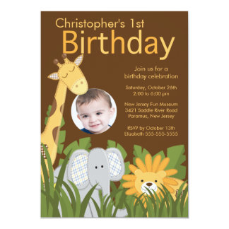 Photo Safari Jungle Animal Kid Birthday Party 13 Cm X 18 Cm Invitation Card