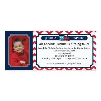 Photo Train Ticket - Red Chevron 10 Cm X 24 Cm Invitation Card