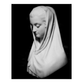 Photographic Print Serene Woman Bust in Stone