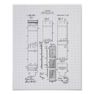 Photographic Roll Film 1915 Patent Art Lined Peper Poster