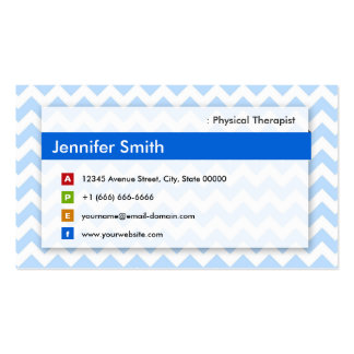 Physical Therapist - Modern Blue Chevron Pack Of Standard Business Cards