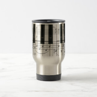 Piano Keyboard and Music Notes Stainless Steel Travel Mug