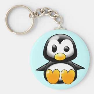 Pickles the Cute Baby Penguin Cartoon Basic Round Button Key Ring