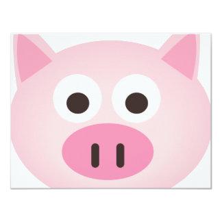 Pig 11 Cm X 14 Cm Invitation Card