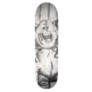 Piggy Stuffed Animal Charcoal Drawing Skateboards