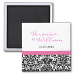 Pink Accent Damask Save The Date Magnet