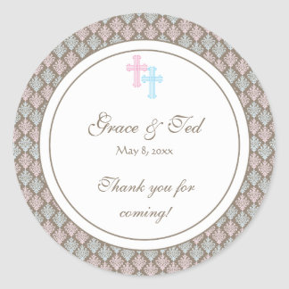 Pink and Blue Damask Cross Favor Sticker