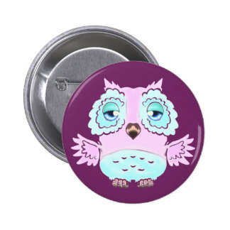 Pink and Blue Owl Button