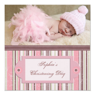 Pink and Brown Christening 13 Cm X 13 Cm Square Invitation Card
