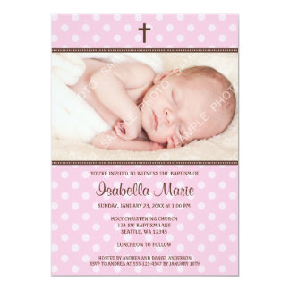 Pink and Brown Polka Dot Cross Girl Photo Baptism 13 Cm X 18 Cm Invitation Card