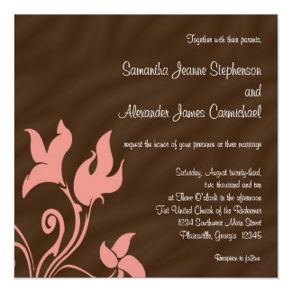 Pink and Brown Swirl 13 Cm X 13 Cm Square Invitation Card