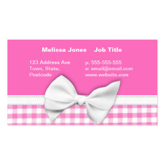 Pink and girly gingham with ribbon bow pack of standard business cards