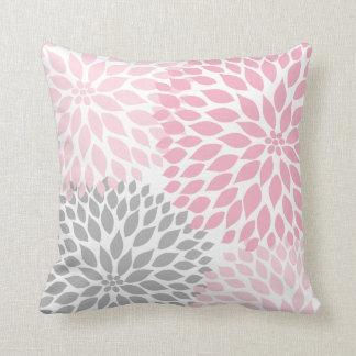 Pink and Gray Dahlia modern decor sofa pillow Cushions