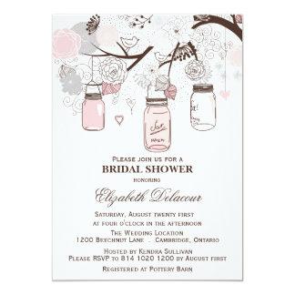 Pink and Gray Mason Jars Bridal Shower Invitations