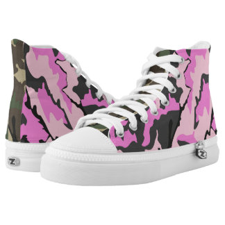 Pink And Green Camo, Zipz High Top Printed Shoes