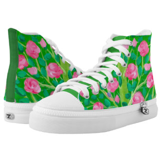 Pink And Green Floral High Tops | Feminine Printed Printed Shoes