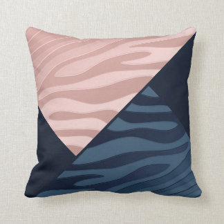 Pink and Navy Blue Gradient Zebra Stripe Triangle Throw Cushion