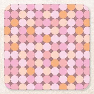 Pink and Orange Polka Dots Square Paper Coaster