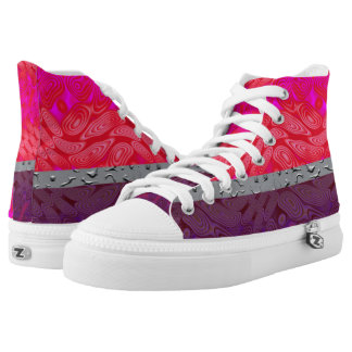 Pink and Purple Delight Hi Top Printed Shoes