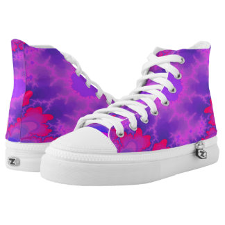 Pink and Purple Flower Burst Hi Top Printed Shoes