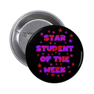 Pink and Purple Star Student of Week 6 Cm Round Badge