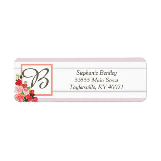 Pink and Red Rose Wedding Return Address Label
