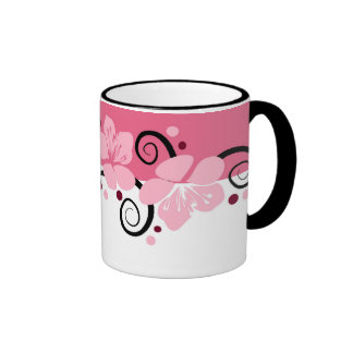 Pink  And White Floral Coffee Mugs