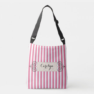 Pink and White Stripe Add Name Customized Bag Tote Bag