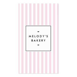Pink and White Stripes Bakery Business Card
