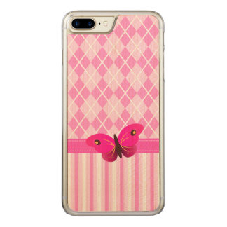 Pink Argyle and Stripes Pattern Wooden Butterfly Carved iPhone 7 Plus Case