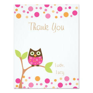 Pink Baby Owl-Hot Pink By Request-Thank You Note 11 Cm X 14 Cm Invitation Card