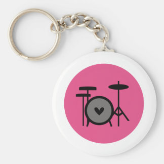 pink band (drum) basic round button key ring