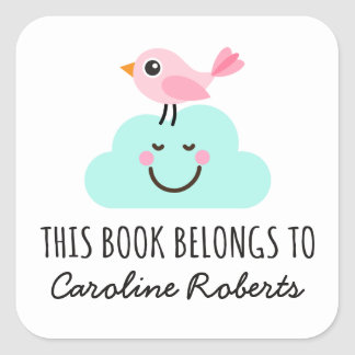 Pink bird on happy cloud cute bookplate square sticker