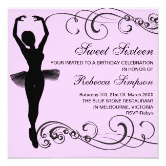 Pink & Black Ballerina & Swirl Birthday Invitation