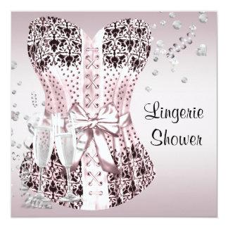 Pink Black Corset Lingerie Bridal Shower 13 Cm X 13 Cm Square Invitation Card
