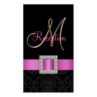 Pink, Black Damask Gold Initial Wedding Reception Pack Of Standard Business Cards